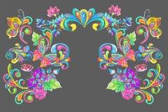Ram för för vattenfärgfärgblommor och fjärilar Royaltyfri Foto