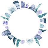 Ram för vattenfärgfjädercirkel royaltyfri illustrationer