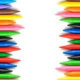 Ram för vaxfärgpennor i fyrkantig sammansättning Arkivfoton