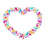 Ram för vektorferiehjärta med prydnaden av flerfärgade droppar För karnevaldesign festivaler, teman av förälskelse, barn stock illustrationer