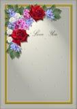 Ram för vit fyrkant med en vinkel av blommor och sidor Royaltyfri Bild
