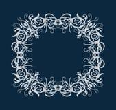 Ram f?r vit rektangel f?r vektorkonturtappning oval med den barocka prydnaden f?r retro krusidull som isoleras p? bl? bakgrund stock illustrationer