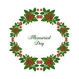 Ram f?r blomma f?r blad f?r modell f?r vektorillustration olik f?r dekorativt kort av minnesdagen royaltyfri illustrationer