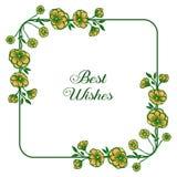 Ram f?r krans f?r vektorillustration gul f?r dekorativt av gratulationer stock illustrationer
