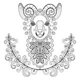 Ram with floral frame. wreathe. Vector zentangle Ram Head illust Stock Photos