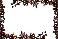 Ram från isolerade kaffebönor Arkivbilder