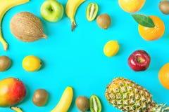 Ram från olika tropiska och säsongsbetonade sommarfrukter Äpplen Kiwi Bananas för citroner för ananasmangokokosnöt citrusa orange Arkivbilder