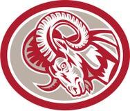 Ram Goat Head Side Circle rétro Images libres de droits