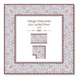 Ram 419 Grey Leaf Red Flower för tappning 3D Royaltyfri Bild