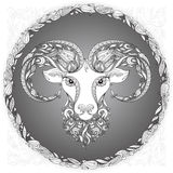 Ram head in a floral frame. On gray background Royalty Free Stock Photos