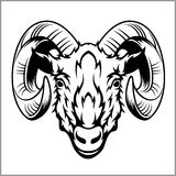 Ram head logo or icon in black and white. Royalty Free Stock Photo