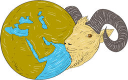 Ram Head Middle East Globe-Tekening vector illustratie