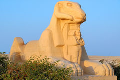 Ram headed sphinx. Sculpture of Criosphinx - body of lion with head of ram, Soma Bay royalty free stock images