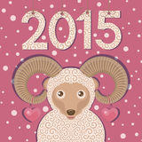 Ram with hearts and pink background. New year greeting card. Sheep symbol of New year 2015. Colorful vector illustration Royalty Free Stock Photos