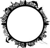 Ram i form av ett styrninghjul med marin- djur Royaltyfri Bild