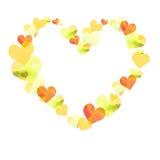 Ram i formen av hjärta av vattenfärghjärtor av olika färger och texturer vektor illustrationer