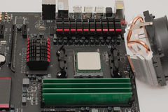 RAM instalado no cartão-matriz imagem de stock