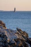 Ram Island Ledge Lighthouse en la salida del sol en la entrada del norte a Imagen de archivo