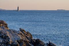 Ram Island Ledge Lighthouse en la salida del sol en la entrada del norte a Fotos de archivo libres de regalías