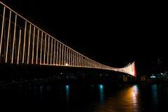 Ram JhulaSuspension Bridge em Rishikesh, ÍNDIA imagem de stock
