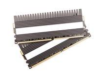 RAM kości pamięci Komputerowi moduły Z Heatsink Obrazy Stock
