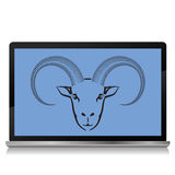 Ram on the laptop screen. Colorful illustration with ram on the laptop screen on a white background Stock Image