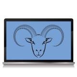 Ram on the laptop screen Stock Image