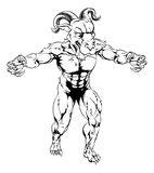Ram mascot with claws out. Ram sports mascot character in black and white standing with claws out Stock Photos