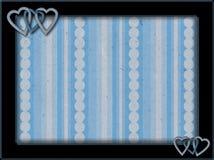 Ram med blå hjärtor och bakgrund stock illustrationer