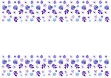 Ram med blåa blommor som är horisontal Fotografering för Bildbyråer
