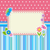 Ram med blommor och fjärilar Fotografering för Bildbyråer