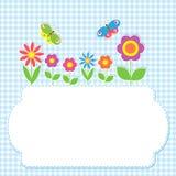 Ram med blommor och fjärilar Royaltyfria Foton