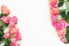 Ram med buketten av rosa rosblommor på vit bakgrund Lekmanna- lägenhet, bästa sikt Pastellblommor royaltyfri foto