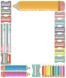 Ram med färgblyertspennor tillbaka begreppsskola till Royaltyfri Fotografi