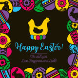 Ram med färgeaster ägg på svart bakgrund, blommor och rommar royaltyfri illustrationer