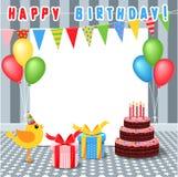 Ram med födelsedagbeståndsdelar vektor illustrationer