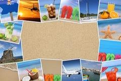 Ram med foto från sommarsemester, sand, strand, ferie och arkivfoton