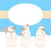 Ram med gulliga Snowmen Arkivbild