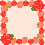Ram med orange rosor Arkivbild