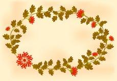 Ram med röda blommor i formen av en krans Fotografering för Bildbyråer