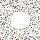 Ram med röda och gröna blommor för kontur på vit bakgrund Royaltyfri Fotografi
