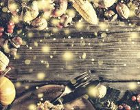 Ram med säsongsbetonade ingredienser i tacksägelsedag den blåa julen inramniner magi Fotografering för Bildbyråer