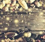 Ram med säsongsbetonade ingredienser i tacksägelsedag den blåa julen inramniner magi Royaltyfri Foto