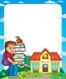 Ram med skolapojke 3 stock illustrationer