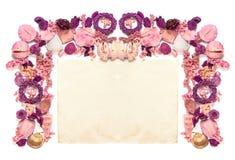 Ram med torkat gammalt papper för blommor som isoleras på vit backgroun Royaltyfria Bilder