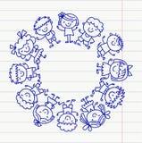 Ram med ungar skola, dagis Lyckliga barn Kreativitet fantasiklottersymboler med ungar Lek studie, växer vektor illustrationer