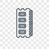 Ram Memory concept vector linear icon on transparent ba royalty free illustration