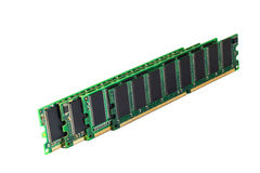 RAM memory module. DDR RAM sticks isolated on white Stock Photos