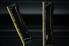 RAM memory modules. Random Access Memory modules in commercial setup with black covers, isolated on black background stock photography