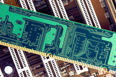 RAM Memory Stick On Motherboard. Closeup Royalty Free Stock Photos